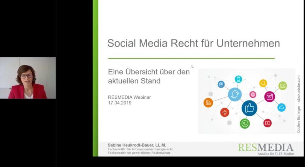 Webinaraufzeichnung: Social Media Recht Für Unternehmen