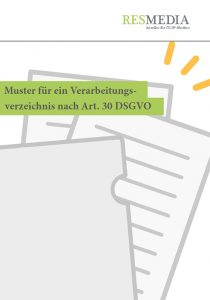 Muster für ein Verarbeitungsverezichnis nach Art. 30 DSGVO